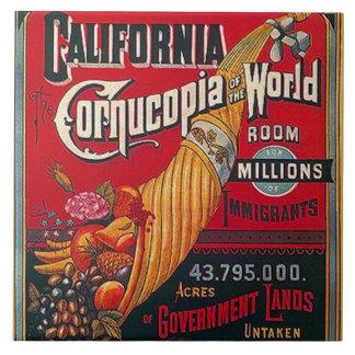 Fliesen-Vintage Kalifornienimmigranten u. Fliese