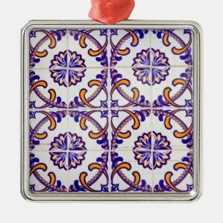 Fliesenmusternahaufnahme, Portugal Silbernes Ornament