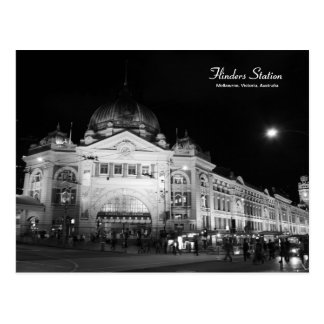 Flinders-Station Melbourne schwarze u. weiße Postkarte