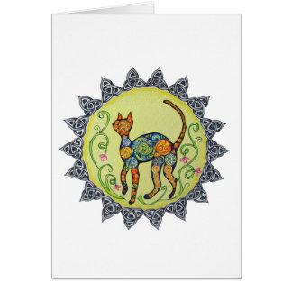 Flippig, Paisley, keltische Katzen-Mandala Karte