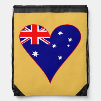 Flippige Australien-Herz-Flagge mit roter Grenze Turnbeutel