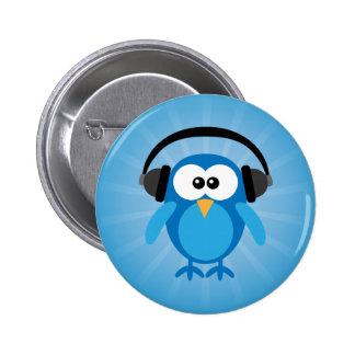 Flippige blaue Retro Eule mit Kopfhörern Runder Button 5,7 Cm