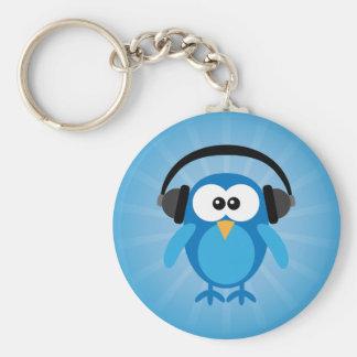 Flippige blaue Retro Eule mit Kopfhörern Schlüsselband