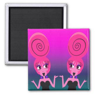 Flippige Diva paart Magneten Quadratischer Magnet