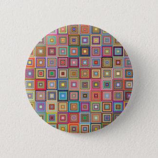 Flippige geometrische Oma-Art-Quadrate Runder Button 5,7 Cm