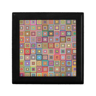 Flippige geometrische Oma-Art-Quadrate Schmuckschachtel
