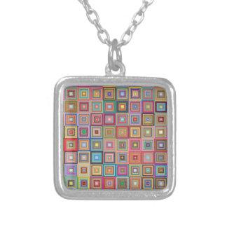Flippige geometrische Oma-Art-Quadrate Versilberte Kette