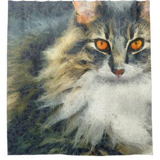 Flippige Maine-Waschbär-Katzen-Kunst Duschvorhang