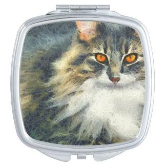 Flippige Maine-Waschbär-Katzen-Kunst Taschenspiegel