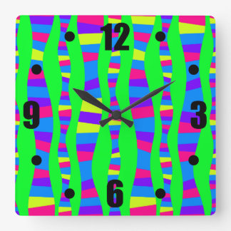 Flippige NeonfarbRetro modernes Muster Quadratische Wanduhr
