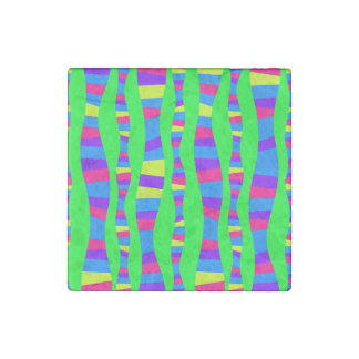 Flippige NeonfarbRetro modernes Muster Steinmagnet