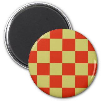 Flippige rote Goldblöcke Runder Magnet 5,7 Cm