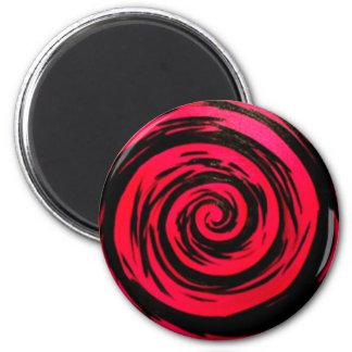Flippige rote hypnotische Strudel-Kunst Runder Magnet 5,7 Cm