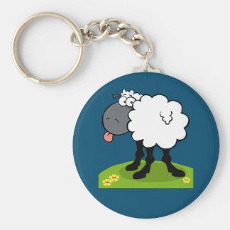 flippige Schafe, die heraus Zunge haften Standard Runder Schlüsselanhänger