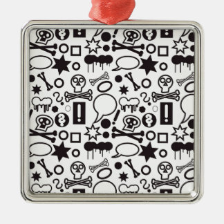 Flippige Schwarzweiss-Ikonen Quadratisches Silberfarbenes Ornament