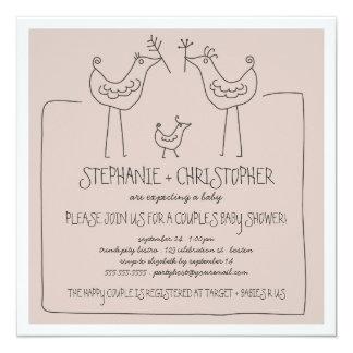 Flippige Vogel-moderne Familie verbindet Babyparty Quadratische 13,3 Cm Einladungskarte