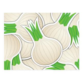 Flippige weiße Zwiebeln Postkarte