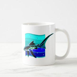 Flippiger blauer Haifisch Kaffeetasse