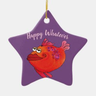 Flippiger Fisch-Kunst-Feiertag im Rosa und im Rot Keramik Ornament