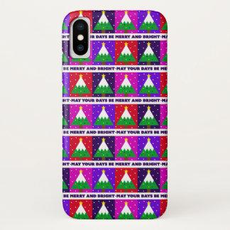 Flippiger fröhlicher und heller Weihnachtsbaum iPhone X Hülle