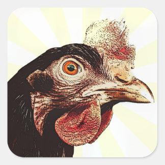 Flippiger mürrischer Huhn-Superstar Quadratsticker