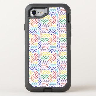 Flippiger Regenbogen-Memphis-Entwurf OtterBox Defender iPhone 8/7 Hülle