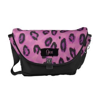 Flippiger schwarzer und rosa Leopard-Bote-Geldbeut Kuriertaschen