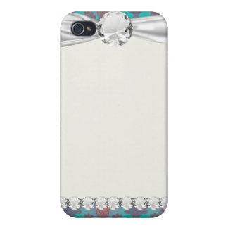 flippiger Türkis und magentaroter Damast iPhone 4 Schutzhülle