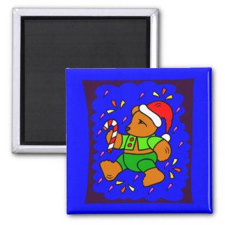 Flippiger WeihnachtsTeddybär Quadratischer Magnet