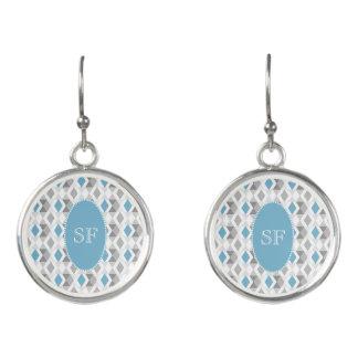 Flippiges blaues Grau-Diamant-Monogramm Ohrringe