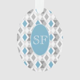 Flippiges blaues/graues Diamant-Monogramm Ornament