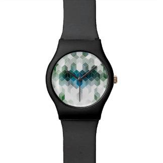 Flippiges blaues Würfel-Grafikdesign Armbanduhr