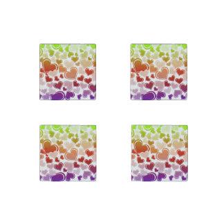 Flippiges helles Herz-Muster Steinmagnet
