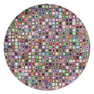 Flippiges Mosaik-Fliesen-Muster mit Juwel-Tönen Flache Teller