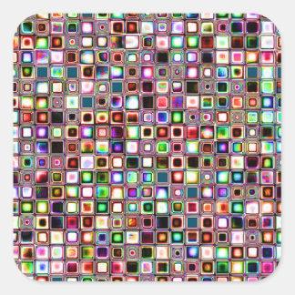 Flippiges Mosaik-Fliesen-Muster mit Juwel-Tönen Quadratischer Aufkleber