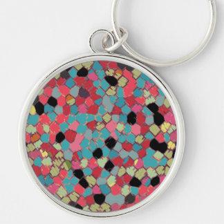 Flippiges Mosaik-multi Farben, kundengerecht Silberfarbener Runder Schlüsselanhänger