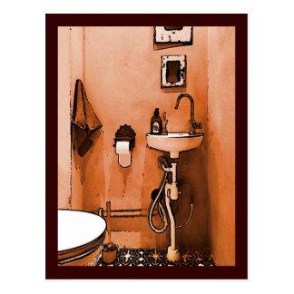 Flippiges pfirsichfarbenes Badezimmer Postkarte