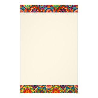 Flippiges Retro buntes Mandala-Muster Briefpapier