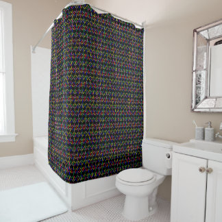 flippiges Retro mutiges auf schwarzem Duschvorhang