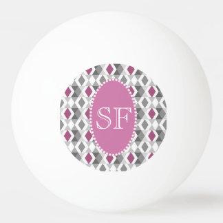 Flippiges rosa/graues Diamant-Monogramm Tischtennis Ball