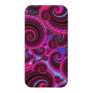 Flippiges Rosa-und Türkis-Strudel-Muster iPhone 4 Hülle