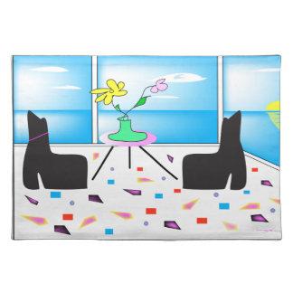 Flippiges wunderliches buntes Miami, Grafik Stofftischset
