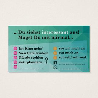 """Flirt-Karte """"Interessant...""""; mit Kontaktfeldern Visitenkarte"""