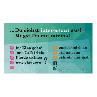 """Flirt-Karte """"Interessant...""""; mit Kontaktfeldern Visitenkarten"""