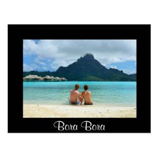Flitterwochenpaare auf Bora Bora schwarzer Postkarte