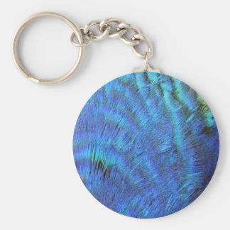 Flockige blaue Pfau-Federn Schlüsselanhänger