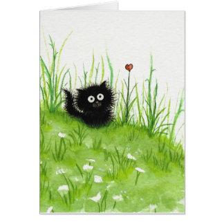 Flockige schwarze Katze durch Bihrle leere Karte