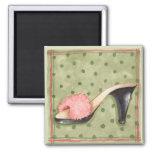 Flockiger rosa Schuh - Magnet Magnete