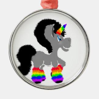 Flockiges Einhorn Rundes Silberfarbenes Ornament