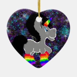 Flockiges Regenbogenraum-Einhorn Keramik Herz-Ornament